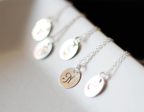 DW25 Sterling Monogram Disk Initial Necklace