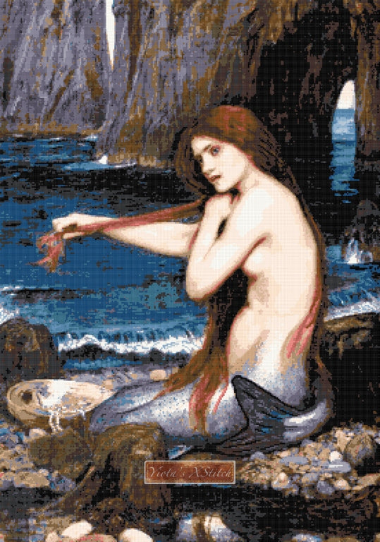 A mermaid by Waterhouse counted cross stitch kit