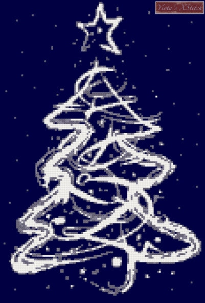 Abstract white Christmas tree counted cross stitch kit