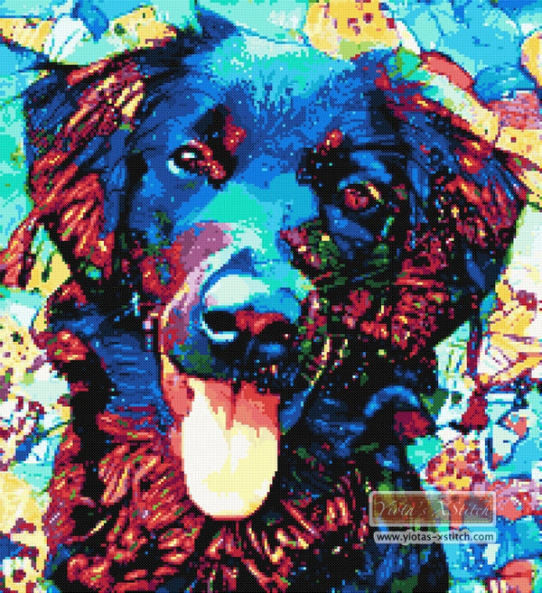 Abstract retriever counted cross stitch kit