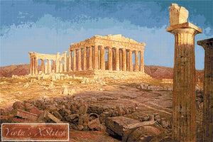 Acropolis with Parthenon by old fine art master Frederic Edwin Church in cross stitch kit.