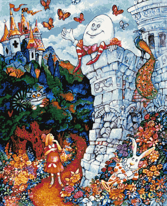Alice and Humpty Dumpty from Alice in wonderland counted cross stitch kit