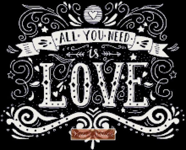 All you need is love, a chalkboard design in counted cross stitch kit