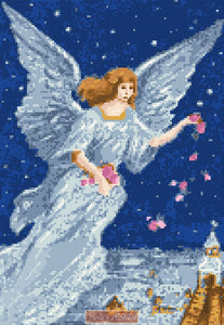 Angel with flowers (v2) counted cross stitch kit
