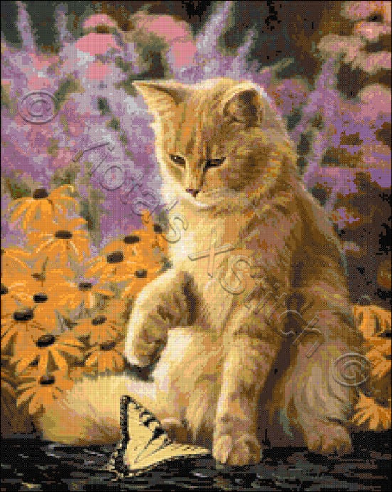 Archibald and friend cat counted cross stitch kit
