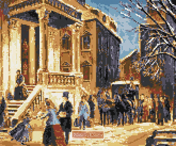 Arrival at the christmas party (v2) counted cross stitch kit
