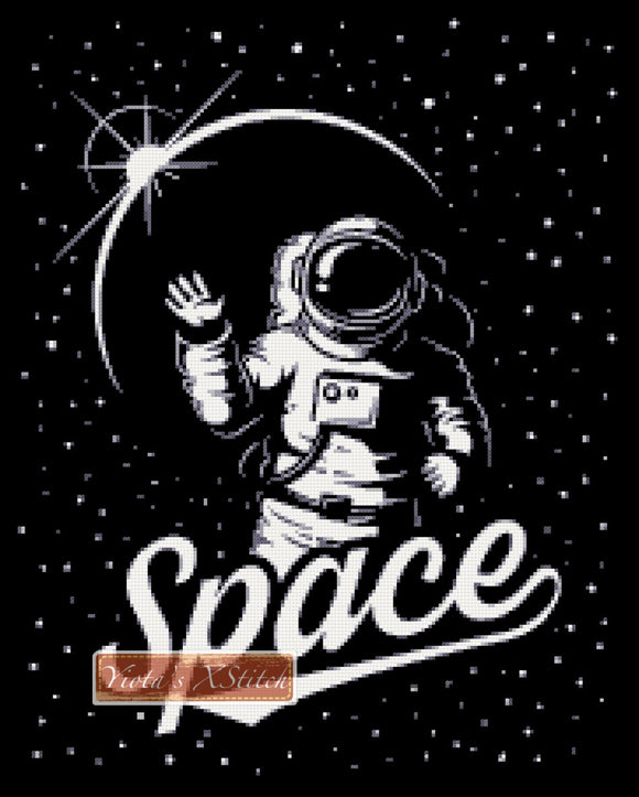 Astronaut in space is counted cross stitch kit