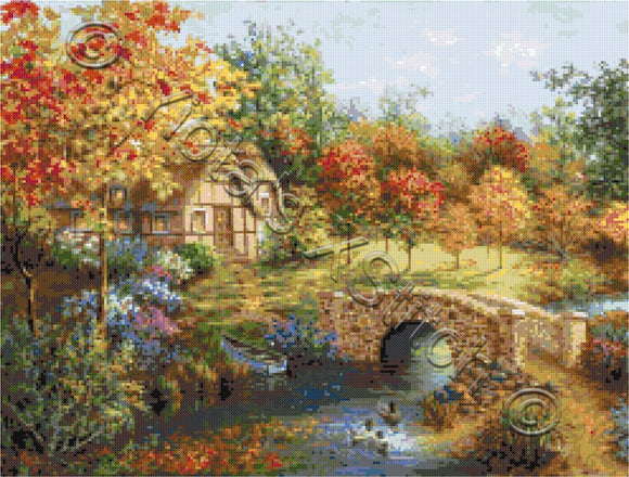 Autumn beauty landscape counted cross stitch kit