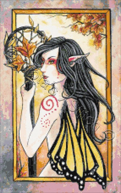 Autumn eyes dream catcher fairy counted cross stitch kit
