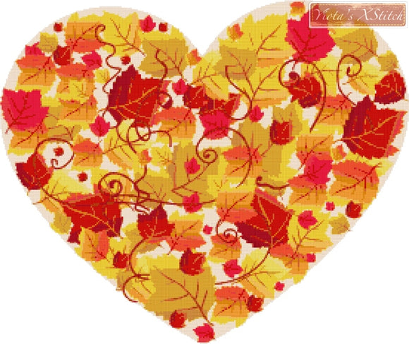 Autumn leaves heart counted cross stitch kit