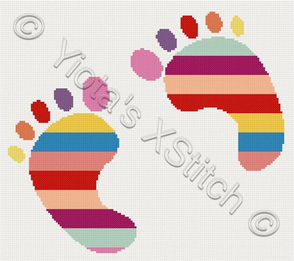 Baby feet counted cross stitch kit