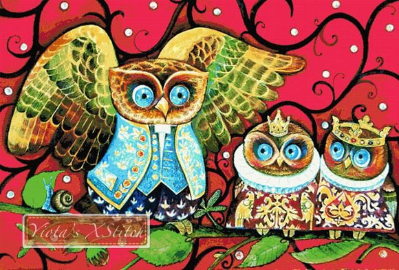 Baby King - owls, extra large and advanced counted cross stitch kit.