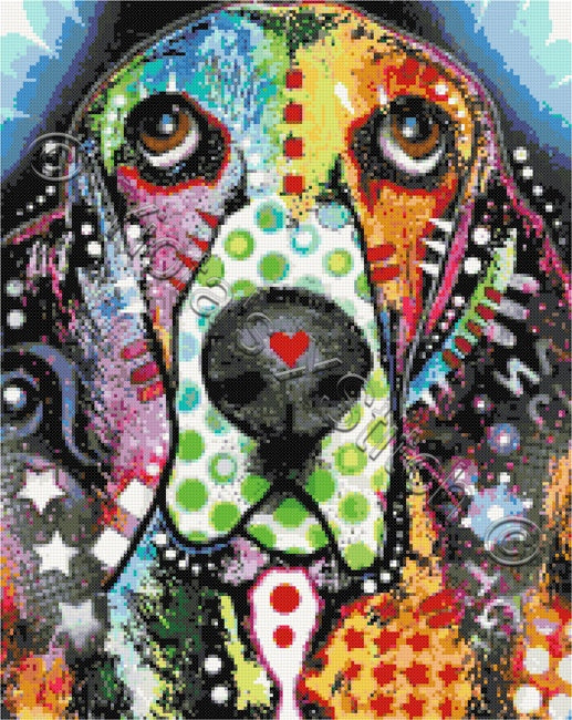 Abstract Basset Hound counted cross stitch kit