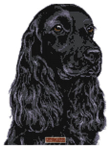 Black cocker spaniel counted cross stitch kit