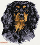 Black Cavalier king charles counted cross stitch kit