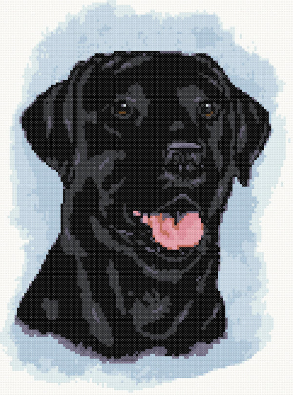 Black labrador No6 counted cross stitch kit