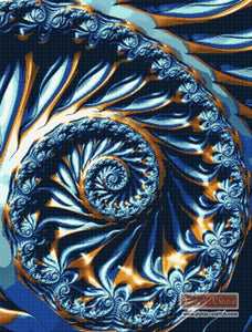 Blue gold spiral fractal counted cross stitch kit