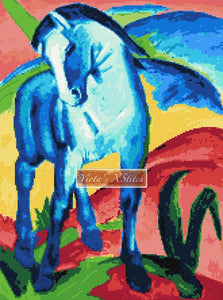 Abstract blue horse by Franz Marc in counted cross stitch kit