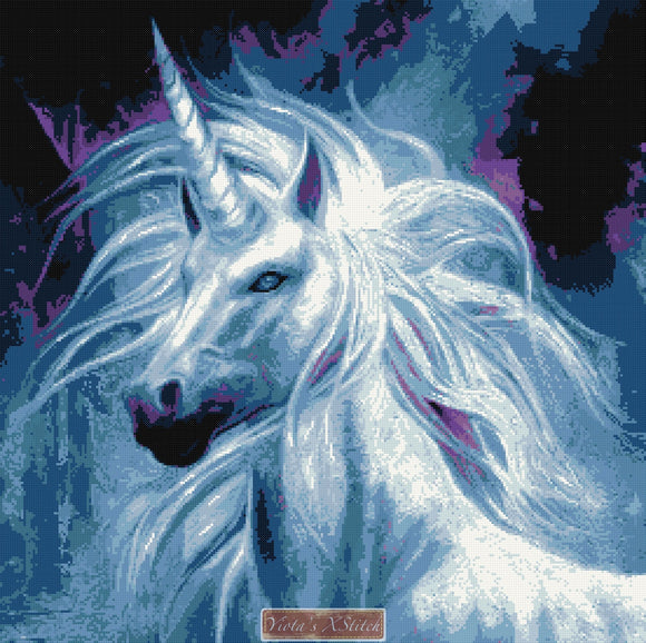 Blue unicorn counted cross stitch kit