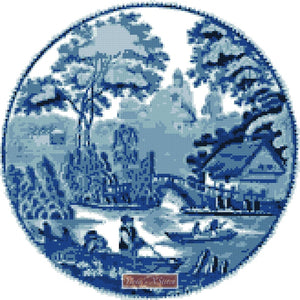 Blue willow scene counted cross stitch kit