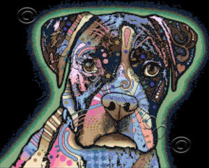 Abstract boxer by Dean Russo in counted cross stitch kit