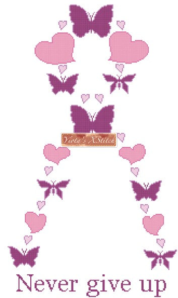 Pink butterfly ribbon counted cross stitch kit