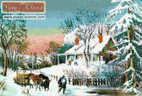 Winter landscape Bringing out the logs counted cross stitch kit
