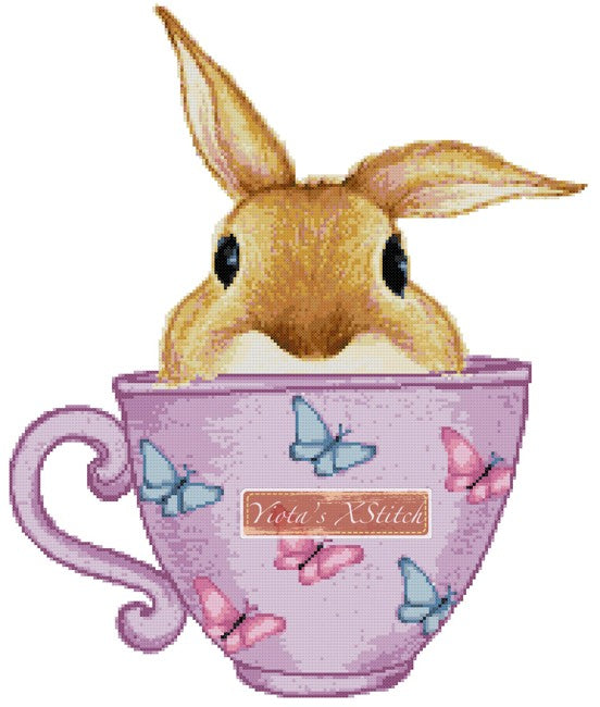 Bunny in a cup counted cross stitch kit