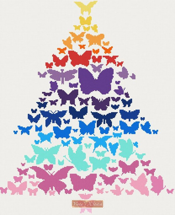 Butterflies tree with rainbow colours in cross stitch kit