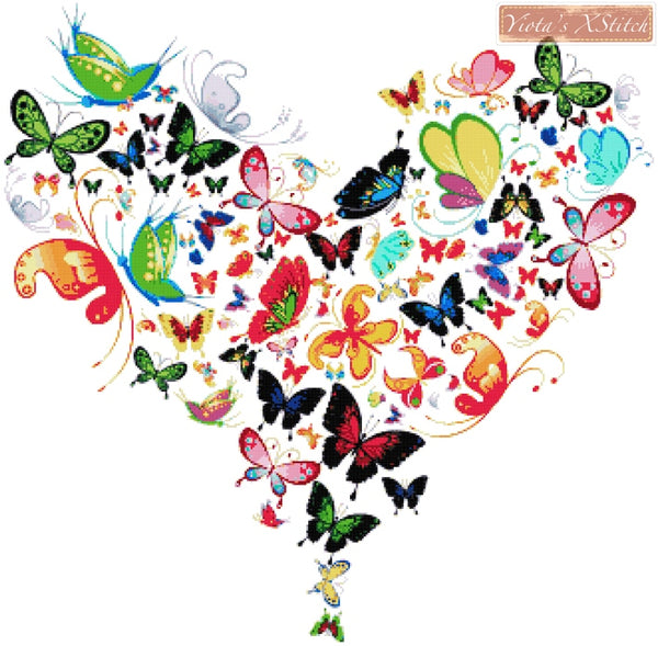 Butterfly heart No3 counted cross stitch kit