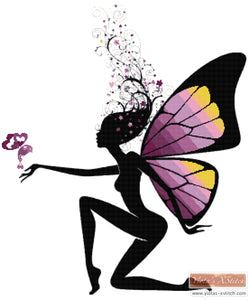Butterfly silhouette fairy counted cross stitch kit