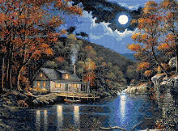 Cabin by the lake landscape counted cross stitch kit