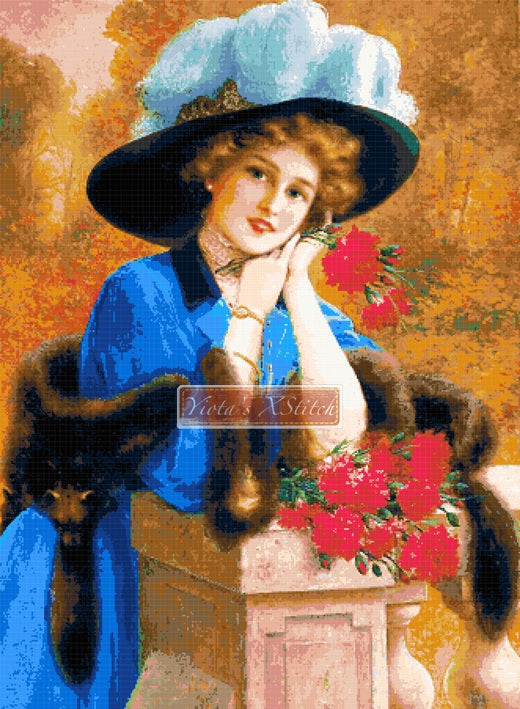 A Victorian lady with carnation flowers in counted cross stitch kit