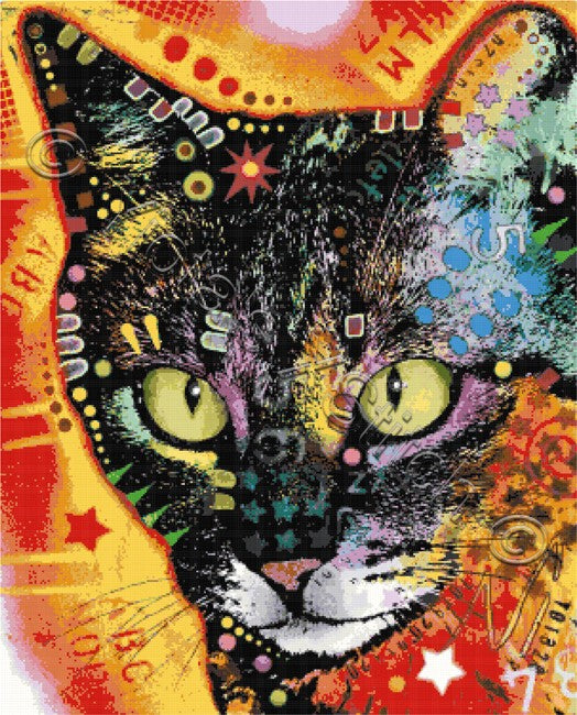 Abstract cat counted cross stitch kit