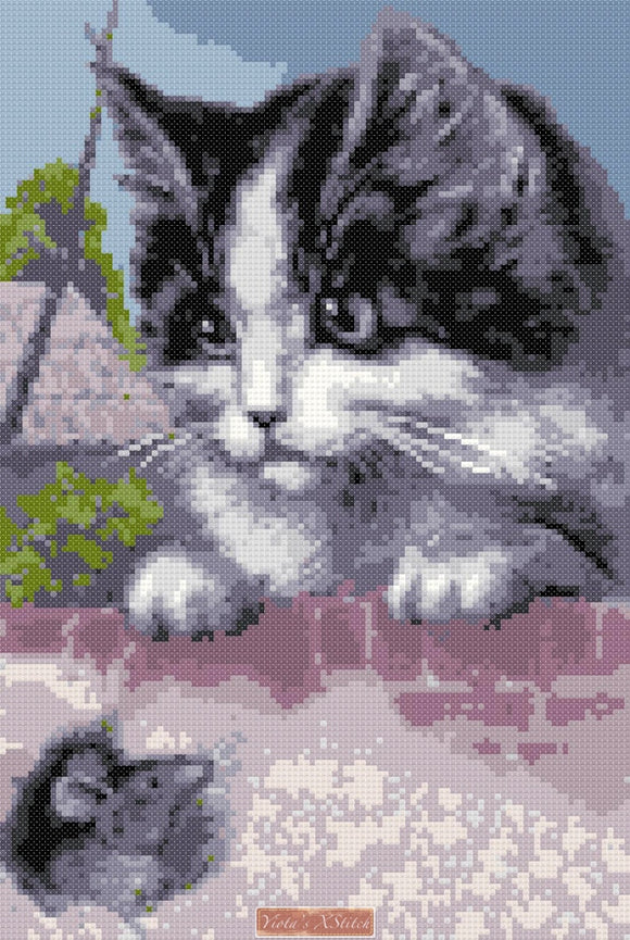 Cat and mouse (v2) counted cross stitch kit