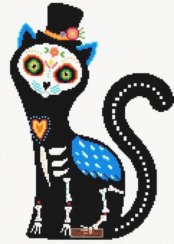 Cat sugar skull cross stitch kit