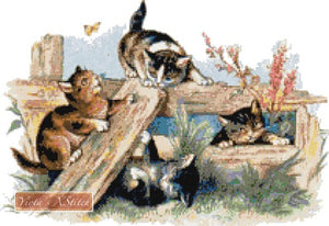 Cats playing counted cross stitch kit