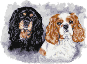 Cavalier king charles pair counted cross stitch kit