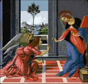 The Cestello Annunciation by Botticelli counted cross stitch kit