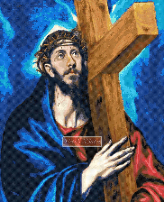 Christ carrying the cross by El Greco counted cross stitch kit