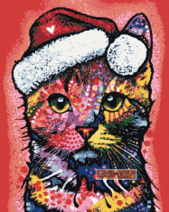 Christmas cat Dean Russo counted cross stitch kit