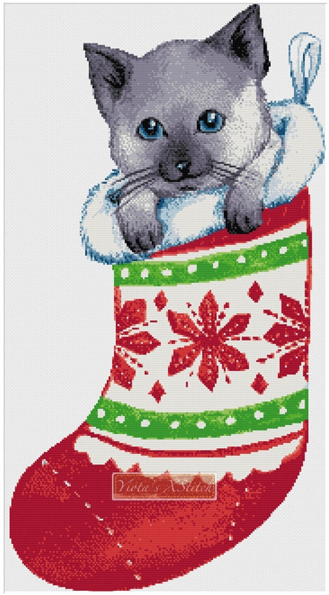 Christmas cat stocking counted cross stitch kit