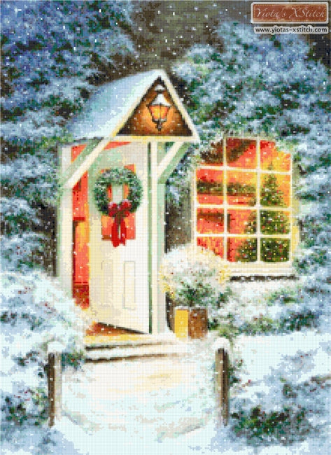 Christmas door counted cross stitch kit