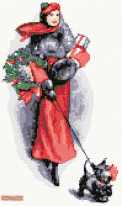 Christmas elegant lady counted cross stitch kit