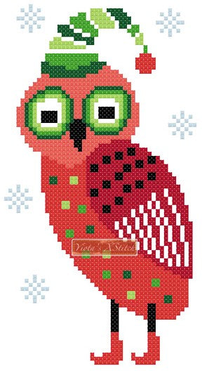 Christmas owl, small counted cross stitch kit