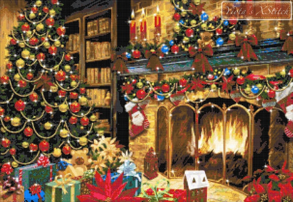 Christmas room with presents counted cross stitch kit