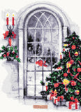 Christmas tree at window cross stitch kit