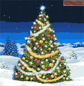 Christmas tree in snow counted cross stitch kit