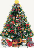 A Victorian Christmas tree with toys cross stitch kit