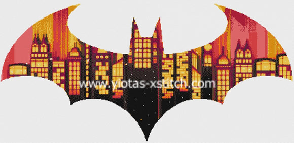 City of bats counted cross stitch kit